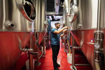 Adam in Bent Water Brewing room