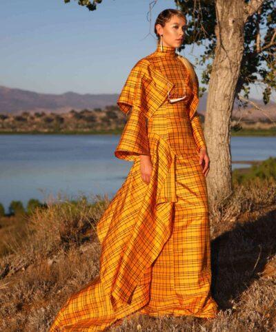 Jamie Okuma (Luiseño/Shoshone-Bannock), For J. Okuma, Dress, 2018. Museum purchase, made possible by the Anna Pingree Phillips Acquisition Fund. 2020.4.1. Courtesy of Jamie Okuma. Photo by Cameron Linton. Model: Corel Taylor.