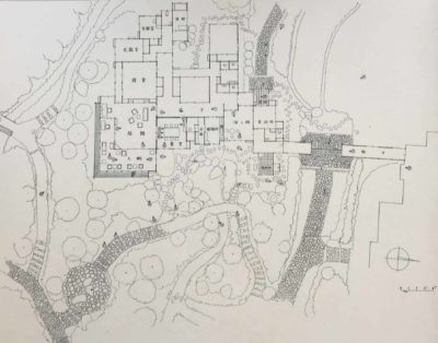 Plan and photograph of Japanese villa garden with path leading to tea room, 1930s (5)