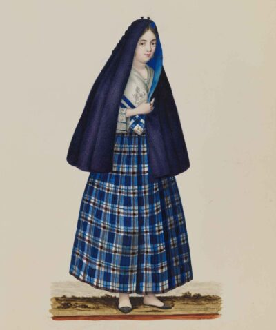 Artists in Guangzhou, China. Woman in the Philippines, about 1840. After Justiniano Asuncion 1816–1901, the Philippines. Opaque watercolor on paper. Museum purchase, Augustine Heard Collection, 1931