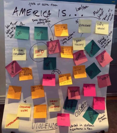 This captures our work in motion (and sticky notes) on what America means to our 2019 summer Fellows during our Putnam Gallery workshop. Photo by author.