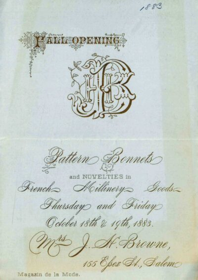 Circular announcing the 1883 fall collection of bonnets at Mrs. J.H. Browne's millinery and clothing shop