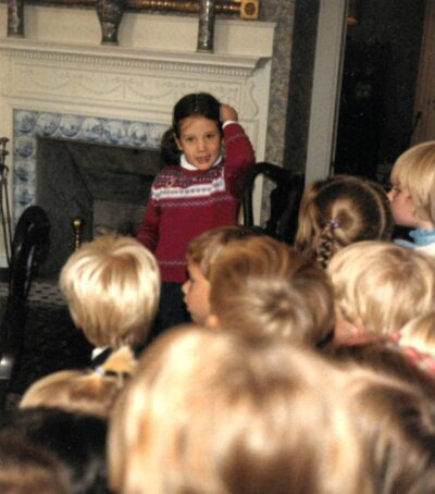 Daughter Amanda Lahikainen gives her kindergarten class a tour of the Ropes Mansion, her home at the time.