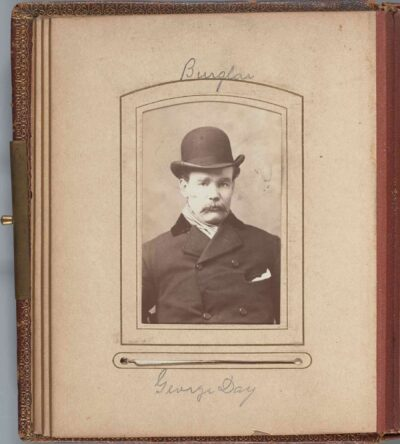 Artists in the United States, Mugshot Album (detail of George Day, burglar), 1884-1885, Phillips Library, MSS 891, Purchase, Library Visiting Committee Fund, 2021.