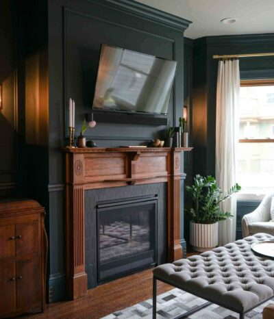 Victorian fireplace with TV above