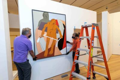A team of PEM staff prepare the South Asian galleries. Photography by Kathy Tarantola/PEM