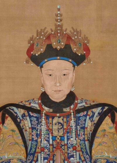 Ignatius Sichelbarth (Ai Qimeng; 1708–1780, born in Bohemia), Yi Lantai (active about 1748–86), and possibly Wang Ruxue (active 18th century). Empress Xiaoxian (detail),Qianlong period (1736-1795), 1777 with repainting possibly in 19th century. Hanging sc