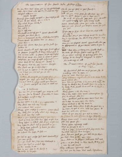 Witch Trial document, 1692, a handwritten paper document