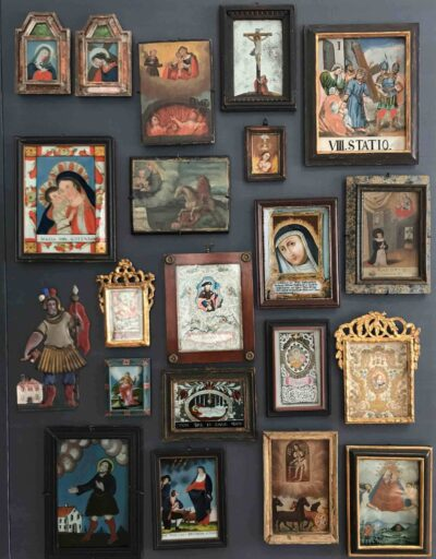 Selections of European reverse paintings on glass in the Vitromusée Romont's collection. Photo by Karina Corrigan.
