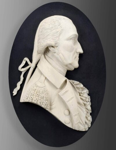 Samuel McIntire, Portrait medallion of George Washington, once displayed on an arch on Salem Common, 1805. Painted pine. Gift of the City of Salem Committee of Public Property, 1891, 110728. Photo by Dennis Helmar.
