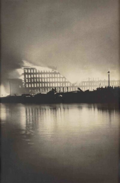 Artist in the United States, Naumkeag Steam Cotton Company (on fire at about 2 am on June 26, 1914), 1914. Gelatin silver print. Gift of Ruth Robinson, 1986, M22520. Photo by Kathy Tarantola/PEM.