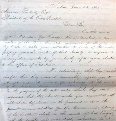 Letter to Francis Peabody, June 23, 1865