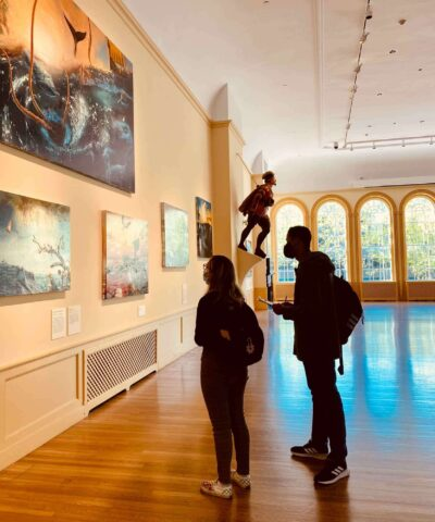 Students from LEAP for Education evaluating exhibitions for accessibility to the local Latinx community. Photos by Jelivet Perez