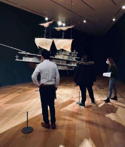 Visitors in the Pequod ii exhibition