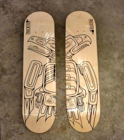 Rico Lanaat' Worl (Tlingit/Athabascan), skateboard deck, 2014