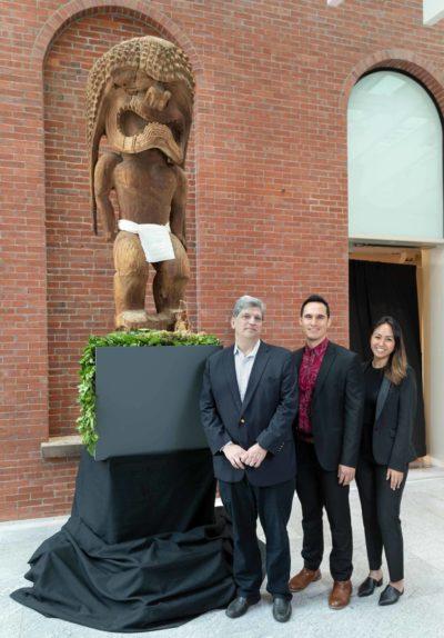 Kamuela Werner stands with Matthew Brelis and Iwa Kahoohanohano of Hawaiian Airlines