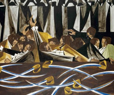 Jacob Lawrence, Panel 15, 1955, from Struggle: From the History of the American People, 1954–56, egg tempera on hardboard.