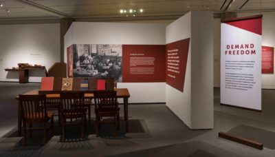 Image featured on the wall of the installation of  Jacob Lawrence: The American Struggle.