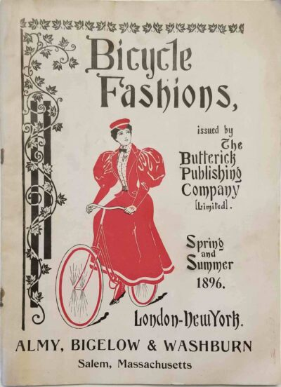 Catalog of ladies' bicycling fashions available at Almy, Bigelow & Washburn in Salem