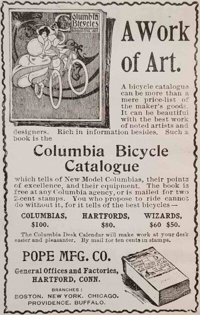A clipping from The Forum magazine, promoting Pope Manufacturing Company's 1895 bicycle catalog