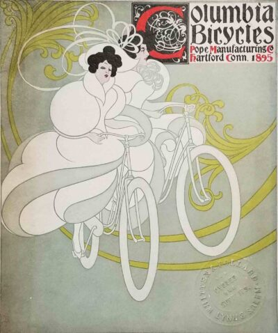 1895 Columbia Bicycles catalog with Whitten & Pollard stamp.