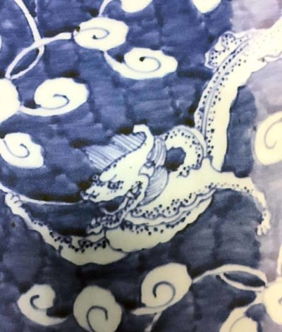Blue and white vase detail