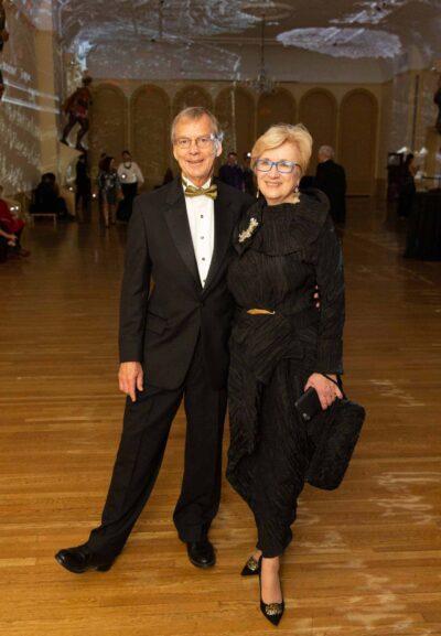 Lynda Roscoe Hartigan with her husband, Roger Thompson, in the Charles Sandison: Figureheard 2.0 installation