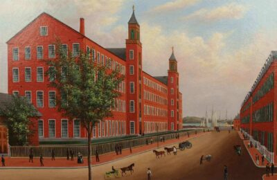 Artist in the United States, Naumkeag Steam Cotton Mill, Salem, about 1850. Oil on canvas. Gift of American Textile History Museum Collection. 2017.9.1.