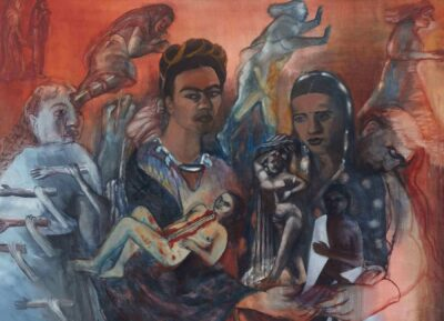 Nalini Malani, Old Arguments on Indigenism, 1989. Acrylic and oil on canvas. Gift of the Chester and Davida Herwitz Collection, 2001. E301088. Peabody Essex Museum. Photo by Walter Silver/PEM.