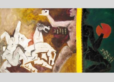 Maqbool Fida Husain, Ganga Jamna (Mahabharata 12), 1971. Oil on canvas. The Chester and Davida Herwitz Collection, 1998. E300244. Peabody Essex Museum. Photo by Mark Sexton and Jeffrey R. Dykes/PEM.