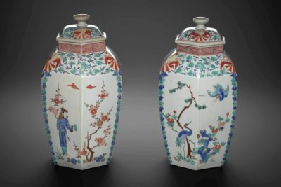 Pair of covered vases, about 1680. Porcelain