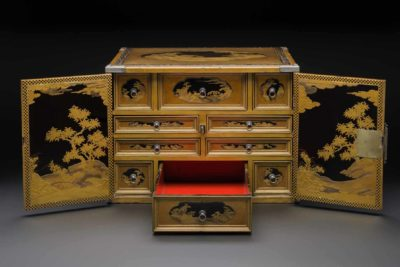 Cabinet, 1635–45. Lacquered wood, mother-of-pearl, and silver mounts.