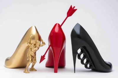 Sebastian Errazuriz, 12 Shoes for 12 Lovers (The Gold Digger, The Heartbreaker, The Boss), 2013. 3d-printed abs plastic, resin, acrylic. Museum purchase. © Peabody Essex Museum. Photography by Kathy Tarantola.
