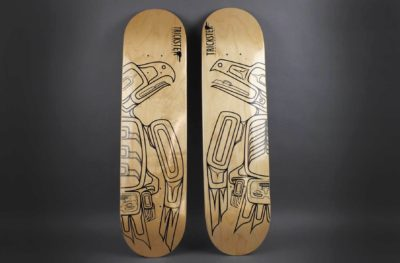 Rico Lanaat' Worl (Tlingit/Athabascan), skateboard deck, 2014. Wood, paint. Museum purchase. © Peabody Essex Museum.