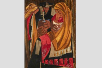 Panel 28, 1956, Inscription: The Emigrants—1821-1830 (106,308). Private Collection. © The Jacob and Gwendolyn Lawrence Foundation, Seattle/Artists Rights Society (ARS), New York. Courtesy of Lucia | Marquand