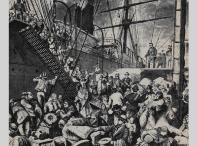 The Great Tide of Immigration: Embarkation for New York, engraving illustrated in Alan C. Collins, The Story of America in Pictures, Doubleday & Company, 1953. Photo by Bob Packert/PEM