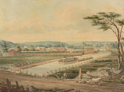 View on the Erie Canal, 1829. Courtesy of The New York Public Library, The Miriam and Ira D. Wallach Division of Art, Prints and Photographs: Print Collection, The New York Public Library