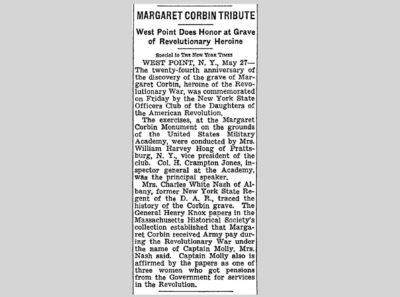 """Margaret Corbin Tribute; West Point Does Honor at Grave of Revolutionary Heroine,"" New York Times, May 28, 1950. © The New York Times Company"