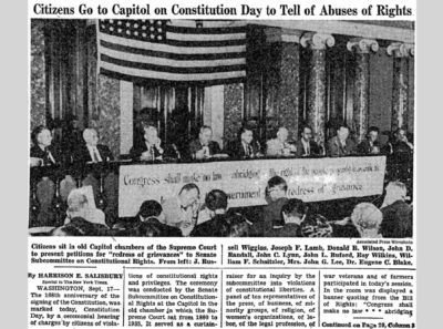 "Harrison E. Salisbury, ""Citizens Go to Capitol on Constitution Day to Tell of Abuses of Rights; ABUSES OF RIGHTS TOLD TO SENATORS,"" New York Times, September 18, 1955. © The New York Times Company"