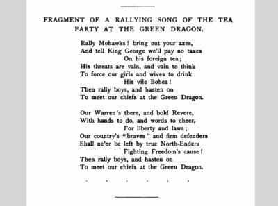 """Page from """"Rallying Son of the Tea Party at the Green Dragon"""" in Francis Samuel Drake, Tea Leaves: Being A Collection of Letters and Documents (Boston: A. O. Crane, 1884)"""