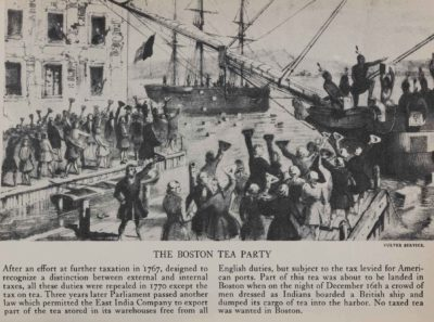 The Boston Tea Party, engraving illustrated in Alan C. Collins, The Story of America in Pictures, Doubleday & Company, 1953