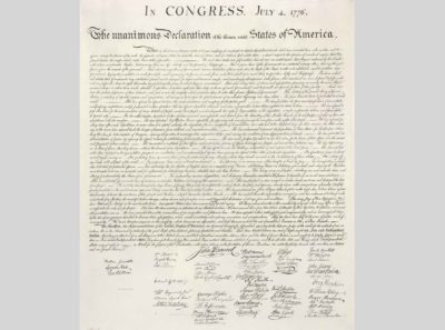 Thomas Jefferson et al., The Declaration of Independence, 1776, Textual Records, Miscellaneous Papers of the Continental Congress, 1774-1789, on parchment, from the National Archives, Washington, DC.