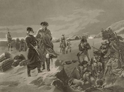 H. B. Hall, after painting by Alonzo Chappel, Valley Forge-Washington & Lafayette, Winter 1777–78, 1857, engraving, The Miriam and Ira D. Wallach Division of Art, Prints and Photographs: Picture Collection, The New York Public Library