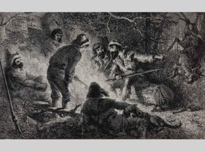 Hunter and Trappers, engraving illustrated in Alan C. Collins, The Story of America in Pictures, Doubleday & Co, 1953. Photo by Bob Packert/PEM