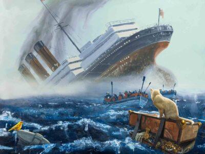 Alexis Rockman, Lusitania, 2020. Oil on water. Courtesy of Jonathan O'Hara.