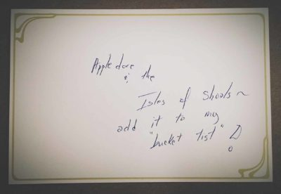 """This side reads, """"My heart is not here. August 7, 2016. To: Whoever cares to read…"""""""