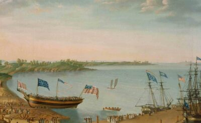 Painting of ships with flags docked at shore with people