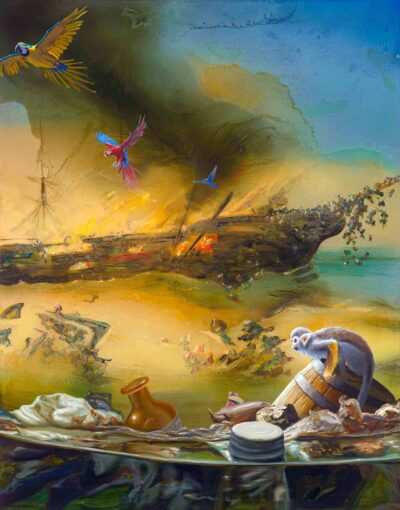 Alexis Rockman, The Sinking of the Brig Helen, 2017. Oil on dibond. Courtesy of David Roth and Heifara Rutgers, New York.