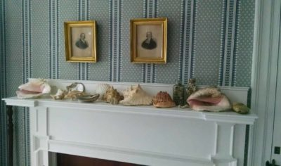 Mantle with shells in the Ropes mansion. Photo courtesy of Angela Segalla