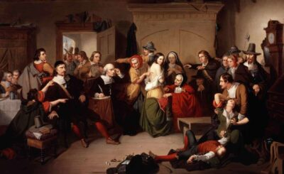 Painting of a crowd of people in a dark rooom, dressed in 1700's clothing.